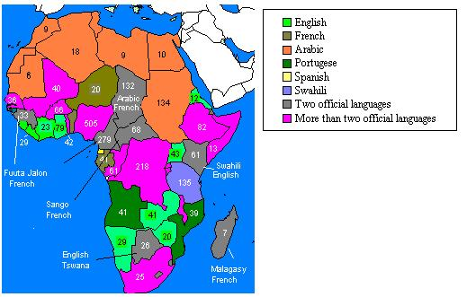 Official Languages And Total Spoken Languages In African Countries